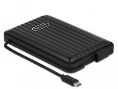 Boîtier étanche Delock pour disque dur externe avec câble USB-C intégré.