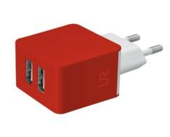 Chargeur secteur rouge avec 2 ports USB Trust.