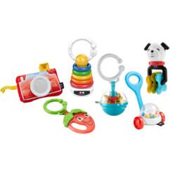 Les six mini-jouets du coffret éveil musique de Fisher Price.