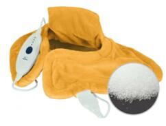Coussin chauffant électrique jaune rempli de microbilles.
