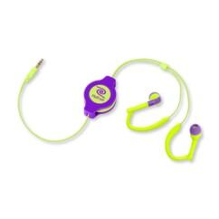 Écouteurs rétractables Neon Sport violet/jaune Retrak.
