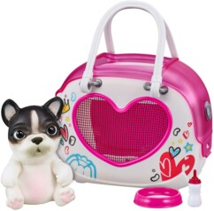 Le pack Little Live OMG Pets! avec uen figurine bouledogue et un sac de transport.