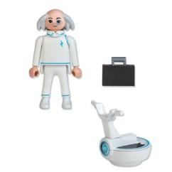 Figurine Playmobil Docteur X avec aéronef et mallette.