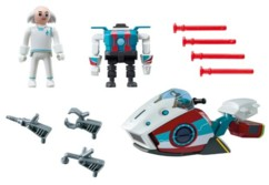 Figurine Playmobil du Docteur X avec son Sky Jet et son robot Intercepto.