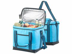 Lot de 2 sacs réfrigérants pliables avec une capacité de 26 litres.
