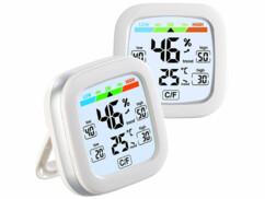Lot de 2 thermomètre-hygromètres avec affichage des prévisions et de l'indice de confort.