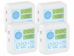 Lot de 4 appareils de mesure COVT/CO² avec horloge et thermomètre.