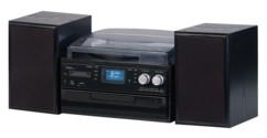 mini chaine hifi 2 enceintes avec lecteur cd usb sd bluetooth platine vynile 33 45 78 tours numerisation disque sur usb sd mhx-640 auvisio