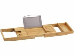 Pont de baignoire en bambou, extensible jusqu'à 109 centimètres.