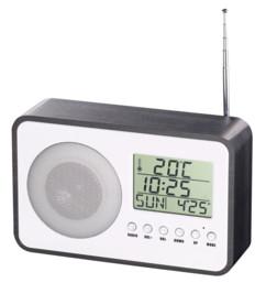 radio reveil numérique style rétro avec design bois gris Auvisio