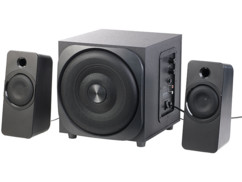 pack audio 2.1 bluetooth avec 2 hp satellites + 1 subwoofer puissance totale 60w crete 30w rms auvisio msx 350