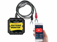 Testeur de batterie automobile Lescars connecté par application mobile.