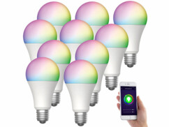 10 ampoules LED connectées E27/ 9 W / RVB / CCT LAV-150.rgbw