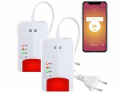 2 détecteurs de gaz domestiques connectés avec alarme 85dB