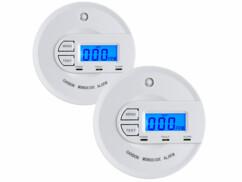 2 détecteurs de monoxyde de carbone avec écran LCD et alarme COM-16