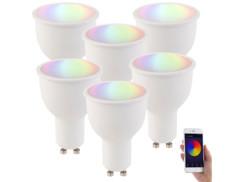 6 ampoules LED connectées GU10 A+ 4,5 W compatible Alexa LAV-45.rgbw - RVB + BC