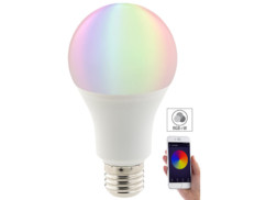 ampoule led couleur rvb rgb e27 10 w luminea connectée avec application ios android compatible alexa google home