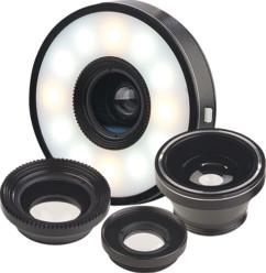 Lentilles pour appareil mobile super grand-angle, macro et fish-eye + Anneau LED