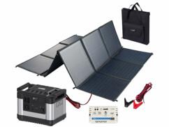 Batterie nomade de 300 Ah avec un panneau solaire pliable de 150 W et un régulateur de charge.