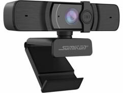 Webcam USB Full HD avec autofocus et double microphone stéréo.