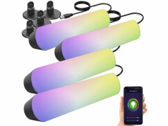 Lot de 4 lampes d'ambiance USB à LED RVB CCT connectées par application mobile.