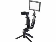 Kit de vlogging Somikon avec lampe LED, microphone, trépied et support pour smartphone.