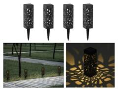 Pack de 4 lanternes solaires avec LED blanc chaud.