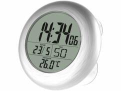 Horloge numérique radio-pilotée avec thermomètre et calendrier, idéale dans une salle de bains ou une buanderie.