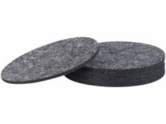 Lot de 6 dessous-de-plat en feutre gris foncé.
