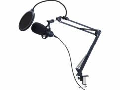 Microphone à condensateur USB avec support articulé et éteau de fixation par Auvisio